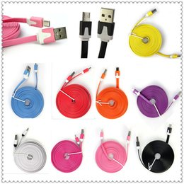 Wholesale Noodle 4s - NEW 1M 2M 3M Micro V8 Noodle Flat Data USB Charging Cords Charger Cable Line for i 5 5C 5S 4 4s Samsung Android Phone MQ100