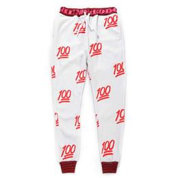 Ropa de dibujos animados emoji online-[Mikeal] Nuevo 100 pantalones joggers emoji blanco / negro para mujer / niña pantalones de chándal traje de dibujos animados ropa hombres pantalón
