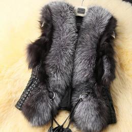 Chaleco de piel sintética online-Chaleco de piel de imitación chaleco de piel de mujer al por mayor-2015 chaleco de chaqueta de tamaño extra grande chaleco de invierno chaleco ajustable correa de lujo envío gratis