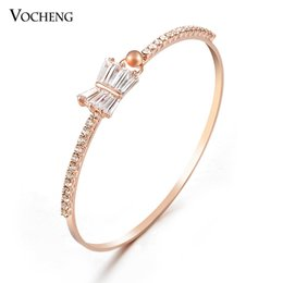 Wholesale Half Circle - Bracelets for Women Gold Plated Half Circle Inlay Crystal Fashion Bowknot Style CZ Stone (VG-038) Vocheng Jewelry