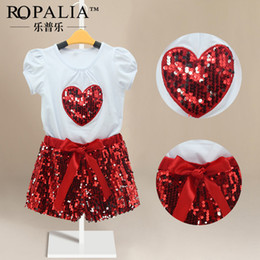 Wholesale Sweet Suits - Summer girl fashion clothes suit sweet heart T-shirt+short pants 2 pieces sequined kids clothing girls fashion suit sets