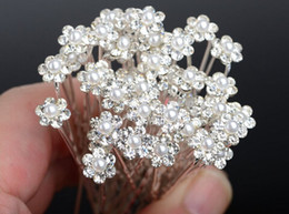 Wholesale Hair Pins Flowers Rhinestone - 40PCS Wedding Accessories Bridal Pearl Hairpins Flower Crystal Rhinestone Hair Pins Clips Bridesmaid Women Hair Jewelry