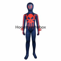 Trajes del diablo azul online-Venta caliente 2017 Dark Blue Devil and Skull patrón impreso Lycra Spandex de cuerpo completo traje Zentai traje para niños
