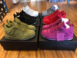 Wholesale Mens Glow Dark Shoes - MENS WOMEN RETRO KAWS BASKETBALL SHOES AIR RETRO 4 RED GREEN GREY PURPLE SUEDE GLOW IN DARK SPORTS SHOES SNEAKERS OUTDOOR ATHLETICS