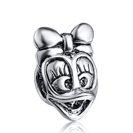 Wholesale Donald Duck Charms - Funny Donald Duck Beads 925 Sterling Silver European Charms Fit For Snake Chain Bracelet DIY Fashion Jewelry