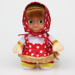 Wholesale Toy Russian Talking Baby Doll - 30pcs lot Masha sing song Russian music Masha and the Bear Dolls talking dancing Musical Doll Educational Baby Toys for Girls
