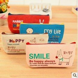Wholesale Pens Storgae Box - Freeshipping! New happy animal pencil bag   lovely cartoon canvas Storgae Box  pen Pocket   wholesale
