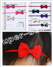 """Wholesale Hair Accessorie Flowers - 25pcs ribbon bow with mini Thin Elastic headbands girl hair accessorie 2"""" bow flower with slender rubber PJ5277"""