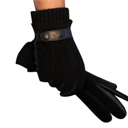 Wholesale Nappa Leather Men - Wholesale-Men's Luxurious Nappa Leather Winter Super Warm Gloves Cashmere Lining Available Free Shipping