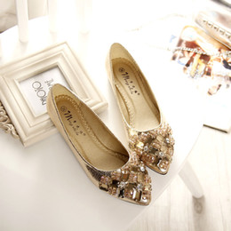 Wholesale Spring Bow Rhinestone - 2016 fashion women shoes Rhinestone pointed toe flat shoes women bow with diamond women shoes women's rhinestone luxury flats women