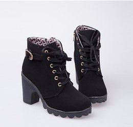 Wholesale Cheap Green Lady Boots - Cheap Autumn Winter Women Boots High Quality Solid Lace-up European Ladies PU Leather Fashion Boots Free XWX367
