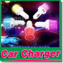 Wholesale Flower Port - For iPhone 6 New Arrival Rose Flower Car Charger 2 Ports 2.1A USB Car Charger With LED Light For iPhone 5 5S 6 6 plus Samsung Note 4 3 S5