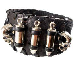 Wholesale Mens Bullet Jewelry - 2013 trendy fashion handmade woven braided punk skull head bullet stud belt buckle wide unisex mens leather bracelets jewelry