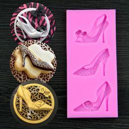 Wholesale High Heel Shoe Molds - Free shipping high-heeled shoes cake baking tools silicon molds cake decorating diy chocolate mold fondant cake decorating tools