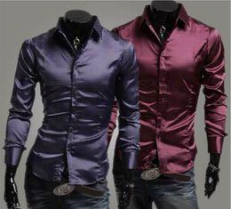 Wholesale Silk Mens Long Shirt - free shipping New Arrival Top Quality Brand Mens Imported Clothing mens Dress Shirts Men Silk Slim Long sleeve Shirts
