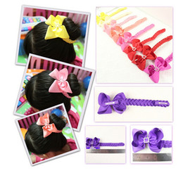 Wholesale Multi Color Hair Extensions - 100pc hair Bun wraps boutique hair Buns bows clips Head Wrap Hairband Headband for girl women Hair Extensions Snood Hair Accessory PD020