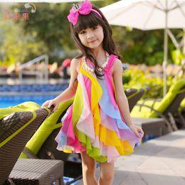 Wholesale Kids Pink Rainbow Dress - 2017 Spring Baby Girl dresses Girls Lace baby girls party Dresses Girls tulle skirt Rainbow Sleeveless Girl kids clothes