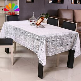 Wholesale Round Crochet Tablecloth - TLFE White Crochet Lace Embroidery Tablecloth for Weddings Home & Garden Table Cloth Cover Rectangular manteles para mesa ZB035