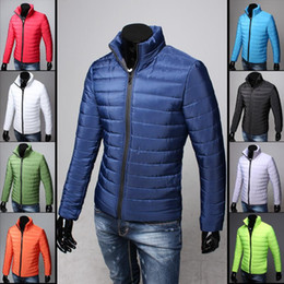 Wholesale Mens Green Cotton Jacket - HOT 9 Colors 2015 New Winter Jacket Men Slim Mens Long Sleeve Parka Famous Brand Mens Jacket Plus Size M-XXXL Warm Man Coat