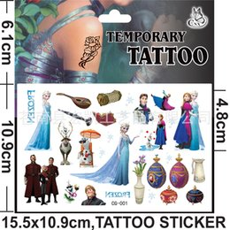 Wholesale Small Avengers Cartoon - Body art Frozen Avengers Hello kitty cartoon Small yellow people Temporary Tattoo stickers 10.5*10cm pcs jewelry painting