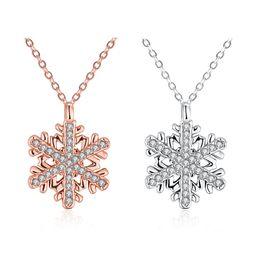 Wholesale Czech Diamond Heart Pendant - Hi-Q Rose White Gold Necklace Czech Diamond Snowflake Charms Pendant Rhinestone Brand Pendant Necklace for Women Girls