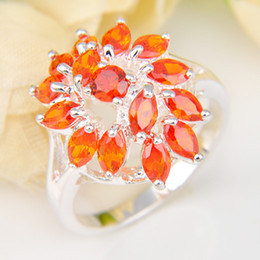 Wholesale Three Piece Wholesale Wedding Sets - 5 Pieces 1 lot Lucky Shine Full Stones Rings Fire Brazil Citrine Crystal 925 Sterling Silver Rings Russia American Australia Wedding Rings