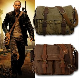 Wholesale Leather Military Satchel - Wholesale I AM LEGEND Will Smith Canvas Leather Men Messenger Bags Military Army Laptop Satchel Crossbody Bags Women Travel Shoulder Bags