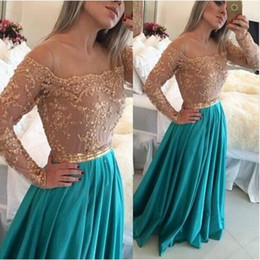 Wholesale Long Sleeves Maxi Dress Petite - Long Sleeves Lace Beaded A Line Chiffon Prom Dresses 2016 Vestidos Sheer Applique Maxi Evening Gowns Robe Arabic Party Gowns