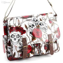 Wholesale A4 Shoulder Bags - Wholesale-Skull Rose Print Buckle Pocket Oilcloth Shoulder Gag Women Handbag School Bag A4