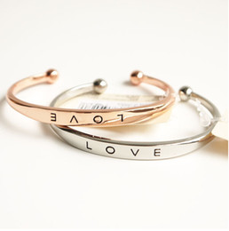 Wholesale 14k Rose Gold Filled Bracelet - Promotions ! New Love Forever Bangles 925 Silver Rose gold  Gold Plated Bracelet Jewelry For Lady Lovers Wedding Gift