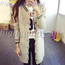 Wholesale Gray Baseball Uniforms - Autumn Fashion College wind Korean coat Fashion Knitted Long Cardigan Women Long-Sleeve Casual Sweaters baseball uniform