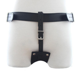 Wholesale Male Leather Chastity - 151204 Leather Harness Chastity Pants Restraints Bondage Male Chastity Belt Butt Plug Sex Toys For Men Sex Products