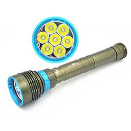 Wholesale Torch Cree U2 - Super Bright 7*CREE XM-L2 U2 LED Diving Flashlight 14000 Lumens IP68 Waterproof Diving Torch Lantern For UnderWater Lighting