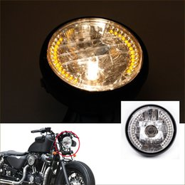 Wholesale H4 Led Yellow - Professional 7Inch Halo Motorcycle Headlight LED with H4 Bulb for Harley Dividson Motorbike Moto Modification Head light order<$18no track