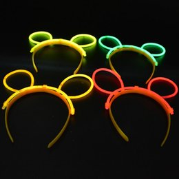 Wholesale Glow Sticks Rave Wholesale - Women Girls Glow Stick On Headband Bunny Cat Ears Glow In The Dark Hairband Rave Fun Party Decoration