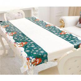 Wholesale print christmas table runner - 110*180cm Merry Christmas Tablecloth Decorative Rectangular Xmas Santa Claus Printed Tapestry Table Runner Dropship q171130