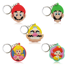 Wholesale Fashion Favors - Retail Order Super Mario High Quality Bright Color Cartoon PVC Keychain Key Ring Fashion Accessory Packed in Gift Bag Kawaii Party Favors
