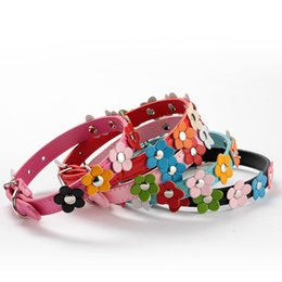 leather flowering dog collar Coupons - Wholesale-Sweet Lovely Studded Flowers Leather Puppy Pet Dog Cat Collar Pets Dogs Buckle Neck Strap Pup Products Free&Drop Shipping