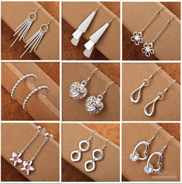 Wholesale Girls Christmas Earrings - Mix style 925 Silver jewelry Charming women girls Dangle Earrings 50Pairs Multi Choices Earrings mix order Free shipping Best Christmas gift