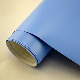 Wholesale Matt Blue Vinyl - 1.52x2m 5x7ft light blue matte matt finish car vinyl wrap satin matte vinil sticker Air Release Channel express free shipping