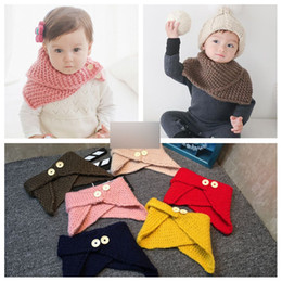 Wholesale Children Handmade Scarf - 6 Colors Baby Winter Pashmina Scarf Wool Shawl collar Cloak Collar Button Shawl Children Handmade Knitted Wool Neck Scarves A7877