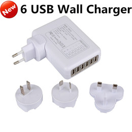 Wholesale Multi Cell Charger - 6 USB Multi Ports EU US AU UK Plug Travel AC Power Adapter Tablet Cell Phone Wall Charger Universal for iphone 6s 5s Samsung S6 ipad HTC