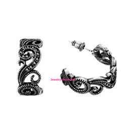 Wholesale Half Hoop Earrings - Vintage Black Marcasite Flower Half Hoop Post Earrings 1Pair