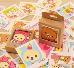 Wholesale Rilakkuma Greeting Card - 40 pcs set Colorful Rilakkuma Single-Page Type Greeting Cards Kawaii Stamp Postcard Set Gift Card Wholesale KCS A5