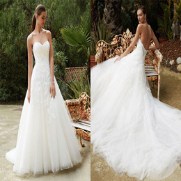 Wholesale Enzoani Lace - Beautiful Enzoani Backless Wedding Dresses Romantic Neckline Applique Tulle Bridal Gowns Floor Length A Line High Quality Wedding Gown