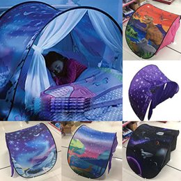 Wholesale White Tent Party - 80*230cm Kids Dream Tents Folding Type Unicorn Moon White Clouds Cosmic Space Baby Mosquito Net Night Light Party Free DHL XL-427