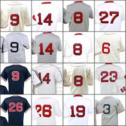Wholesale Wade Gold - Throwback 9 Ted Williams 8 Carl Yastrzemski 23 Luis Tiant 6 Pesky 26 Wade Boggs 14 Jim Rice 19 Fred Lynn 27 Fisk Mitchell and Ness jersey