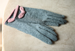 Wholesale Grey Lace Gloves - New Winter Gloves Five Fingers Cute Bow Lace Wool Cashmere Warm Gloves Touch Screen Gloves Warmer screen Conductive