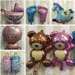 Wholesale Mini Latex Balloons - Mini Bottle balloons Aluminum Balloon latex Birthday Party Supplies Decoration Christmas Gifts aluminium ballons Little Bear Stroller top326