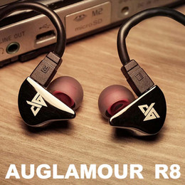 Wholesale Diy Earphones - Wholesale-Newest Original AUGLAMOUR R8 High Quality Ear Hook Metal Earphones HIFI Headphones DIY Headset With upgrade Cable Free Shipping